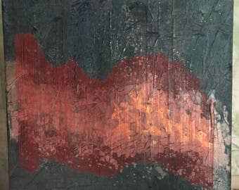 Abstract mixed media painting: The Well