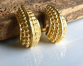 Gold Plated Crescent Earrings, Clip Ons, Vintage Clip Ons, Vintage Hoops, Etsy, Etsy Jewelry, Bumpy Earrings, Nubby Earrings