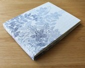 Vintage Kimono Silk Long Stitch Photo Album or Mixed Media Journal in White and Light Blue