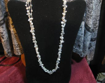 Necklace, Triple twist in Seedbeads and Chips, Silver Gray