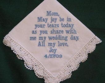 ON SALE Embroidered Mother of the Bride Gift – Mother of the Bride Handkerchief – Wedding Handkerchief – Personalized Hankie 86B
