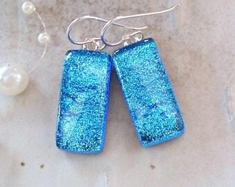 Blue Earrings, Dichroic Earrings, Glass, Fused Jewelry, Dangle, Sterling Silver, A4
