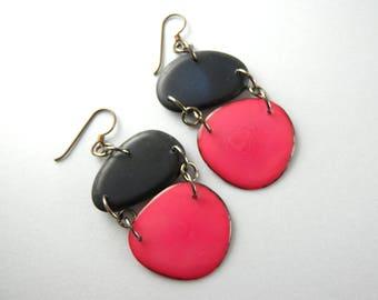 Midnight Blue and Fuchsia Pink Tagua Nut Eco Friendly Earrings with Free USA Shipping #taguanut #ecofriendlyjewelry
