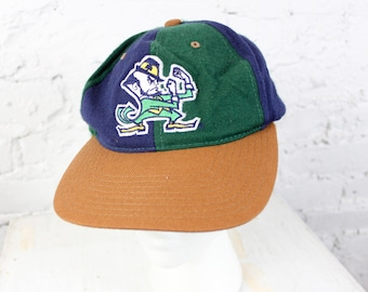1990's Notre Dame Fighting Irish Snapback Baseball Cap in Green and Blue Leprechaun