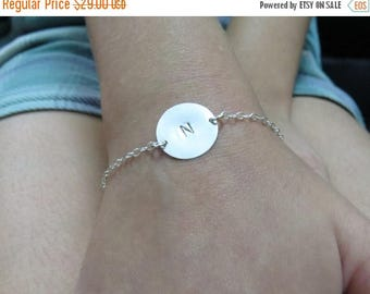 SALE - Silver initial bracelet, personalized bracelet silver, disc bracelet, initial disc bracelet