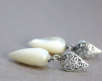 Teardrop earrings, Mother of Pearl, Sterling Silver, gemstone drops, filigree studs