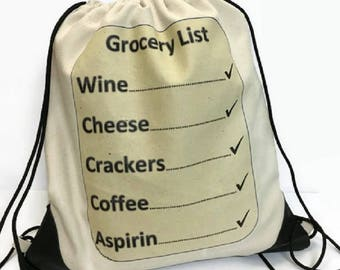 draw string bag canvas bag Grocery List  gym bag shoe bag travel light bag