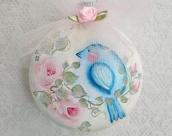 Winter Snow Blue Bird, Round Glass Ornament, Hand Painted, Cottage Roses, Trims, Silk Rose, Christmas Decor, Holiday Trims,Original, ECS