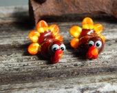 Turkey pair,  Lampwork Bead Pair, Simply Lampwork by Nancy Gant, SRA G5