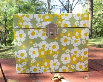 Vintage Metal Storage Box/ File Box - Portable File Box - Gold and Olive -  1960s Flower Power
