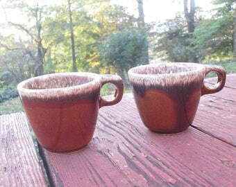 Two Vintage Hull Pottery Mugs - Brown Drip Coffee Cups - Oven Proof Pottery - Made in U.S.A.