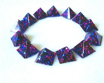 Pink and blue confetti pyramid stud glue on