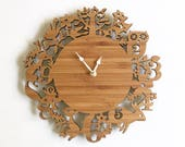 Large forest animals wooden wall clocks , 11 inches, Woodland wall clock, custom color option