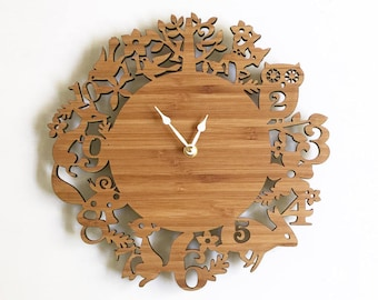 SALE Woodland animal wall clock, in wood, baby shower gift for new mom, 11 inches wood, baby nursery decor, room decor ideas
