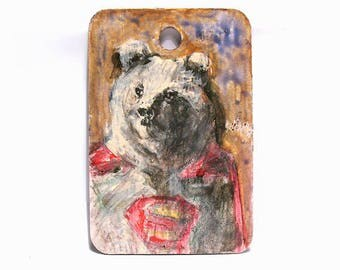 "Bear Art -  Animal Art - Superman/Superhero Art - Original Miniature Painting - Kids Room Wall Decor - Woodland Art - 2""x3"" mini  wall art"