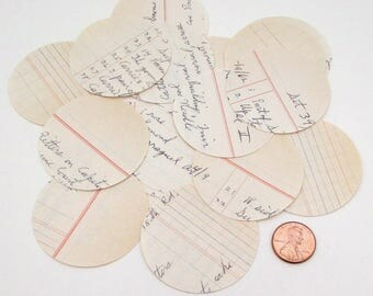 2 in Paper Circles - Ledger Paper - 20 Circle Punches - Handwritten - journaling - paper crafts - Vintage Business