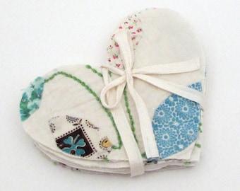 10 Cutter Quilt Hearts - Leaf Applique - Leaves - Quilt Shapes - Quilted Hearts - shabby rustic primitive - vintage quilt