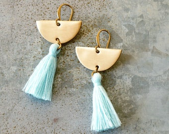 Chandelier Tassel Earrings, Montana Blue Tassel and Brass Crescent