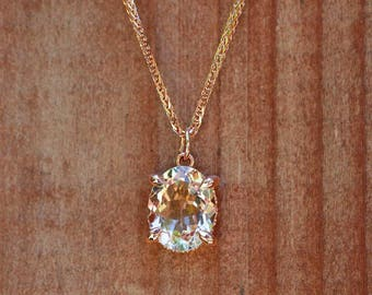 "Morganite Pendant - 9x11mm Oval ""Beverly"" Pendant by Laurie Sarah - Chain also available for additional purchase - LS5088"