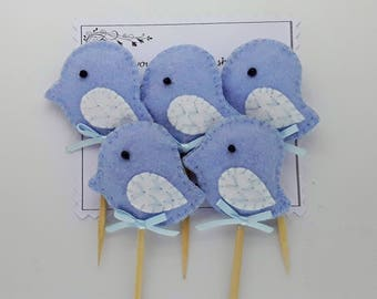 Baby Shower,Blue bird Padded felt cupcake toppers,Baby boy cupcakes toppers