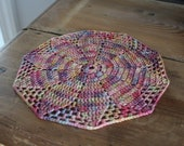 """Hand Crochet Crocheted Plant Candle Rug Mat Doily Sock Yarn Watercolor 9"""""""