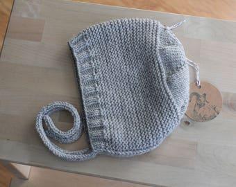 Hand Knit Size 2 Toddler Bonnet / Cap in Light Grey Merino / Baby Alpaca / Silk Blend Yarn