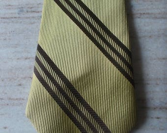 Vintage clip on tie Chartreuse with brown stripes