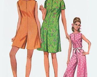 1960s MOD Pantdress/Jumpsuit/ Romper Palazzo pants Sewing Pattern Simplicity 7139 60s Mad Men Era Pattern Size 12 Bust 34