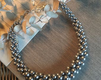 Bead Rope Crocheted Necklace - Grey Swarovski Pearl Bead Crocheted Necklace