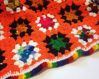 Crochet Orange Granny Square Wool Afghan For your Mod House