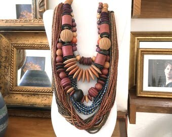 5 Wood Bead Necklace Lot 80s Boho Necklaces Layered Necklaces