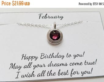 ON-SALE Amethyst - February Birthstone - Amethyst Sterling Silver Chain Necklace, Birthday Gift, Birthstone Necklace