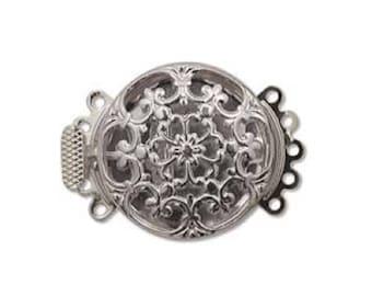 Five Strand Silver Tone Filigree Push Pull Box Clasp - Multi-Strand Clasp