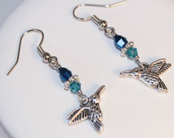 Hummingbird Earrings Huitzilopotchli Huitzili Blue Crystal Silver Shimmer Shimmer