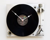 Record player clock, record album clock, music lover clock, Art Clock, upcycled large wall clock, repurposed Vintage antique console clock,