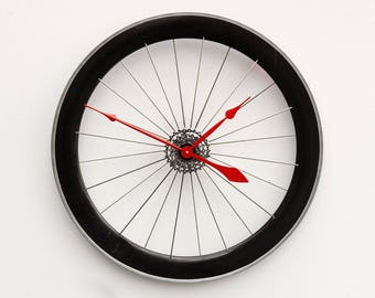 Bike Wheel Clock, Large Wall Clock, Cyclist Gift, Unique Wedding Gift, Steampunk Decor, Bicycle Wall Clock, Modern Wall Clock, birthday gift