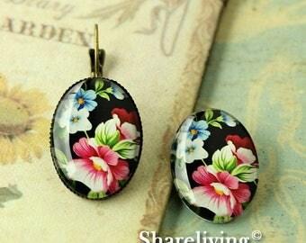 SALE - 30% OFF 4pcs 18x25mm Handmade Photo Glass Cabs Cabochons  (Flower)  -- BCH831J