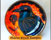 Halloween Ceramic Raven Skull Bowl Hand Painted by Sharon Bloom Designs