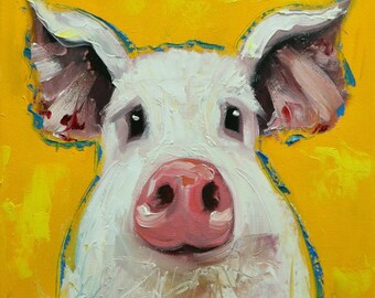 Pig painting 261 12x12 inch original oil painting by Roz
