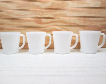 Vintage Fire King Milk Glass Coffee Mugs Set Of 4 White D Handle Retro Cup Lot