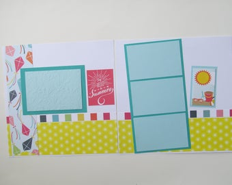 Summer #7 Premade,12x12 Scrapbook Layout,  Scrapbook Page Kit, Project Life, Filofax