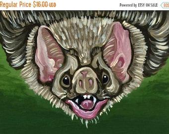 Dog Days of Summer ACEO Vampire Bat Wildlife  Original Painting Art-Carla Smale