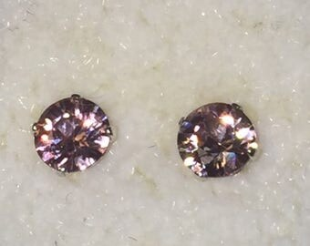 rose champagne zircon earrings .88 carats natural color