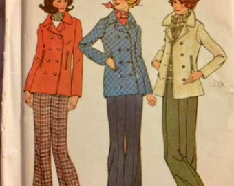 Vintage 70's Sewing Pattern Simplicity7139 Misses' Jacket and Pants Size 14&16 Bust 36-38 Uncut Complete