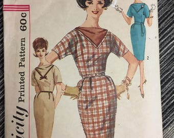 Misses' One Piece Dress 1960's Sewing Pattern Simplicity 4038  Bust 36 inches Complete