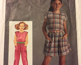 Vintage 1980's Girls' Jumpsuit Sewing Pattern Simplicity 6811 Size 10-12-14   Complete
