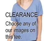 CLEARANCE Blue Choose any image Oversized Slouchy V Neck Tee Loose tshirt shirt