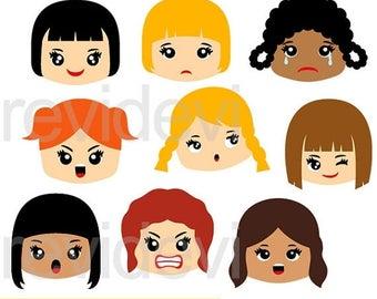 50% OFF SALE Emotions clipart, feelings clipart - Emotion girl faces clip art - kids digital images - instant download