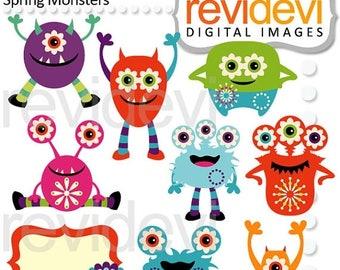 35% OFF SALE Monster clipart - Spring monster clip art - digital images, instant download