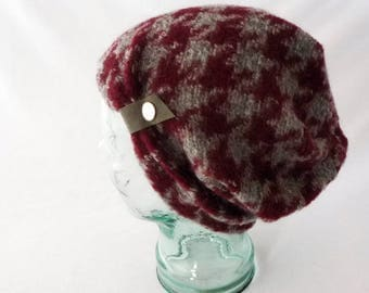 Houndstooth Hat, Toque, Knit Wool, Slouchy Hat, Burgundy, Gray, Womens Hats, Boho Hat, Gift for Her, Comfy Hat, Cozy Hat, Beanie, Cute Hat